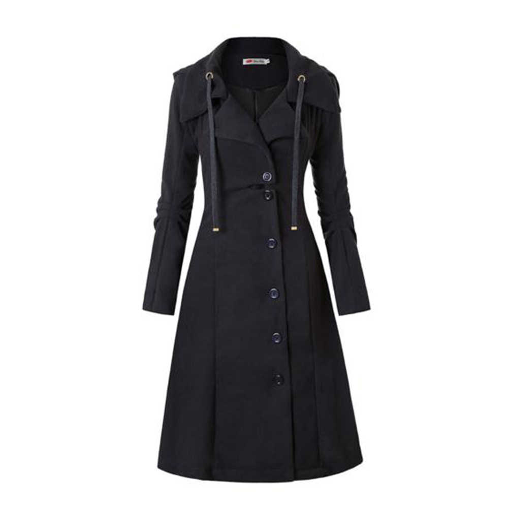 Sisjuly Fashion Long Medieval Trench Coat Women Winter Black Stand Collar Gothic Coat Elegant Women Coat Vintage Female 2019
