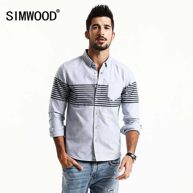 969b35782e473 SIMWOOD 2017 New Spring Summer Casual Shirts Men Striped Fashion Slim Fit  100% Pure Cotton