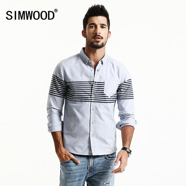 Simwood 2017 nueva primavera verano casual camisas a rayas de los hombres de moda slim fit 100% de puro algodón más el tamaño de la marca de clothing cs1601