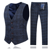 Spring and Autumn Men Plaid Pant and Vest Slim Design Business Casual Men 2Piece Set Asia Size S 5XL Men Wedding Sets