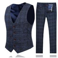 Spring and Autumn Men Plaid Pant and Vest Slim Design Business Casual Men 2Piece Set Asia Size S 5XL Men Wedding Sets