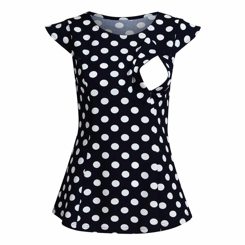 Женские топы для кормящих мам, футболки для грудного вскармливания с рукавами-крылышками, рубашки для беременных с принтом в горошек, Ropa Embarazada, блузка, Allaitement