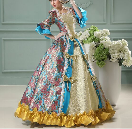 Medieval Renaissance gown queen princess dresses cosplay Victorian Gothic/Marie Antoinette/civil war/Colonial Belle ball gown