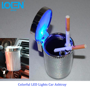 Colorful Durable Car Ashtray LED flashing light Car Interiors Beverage Round Cigarette ash bucket Universal Car Office Holder