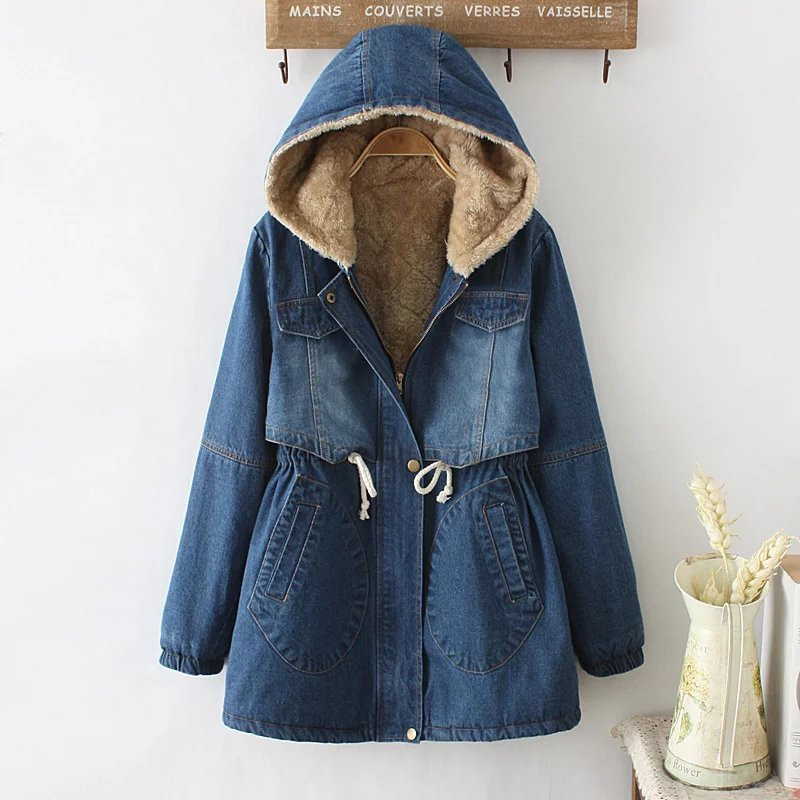 Winter Fleece Hooded Cotton Denim Coats Vintage Long Style Thicken Warm Overcoats With 4 Pockets Female Jeans Windbreaker 093006
