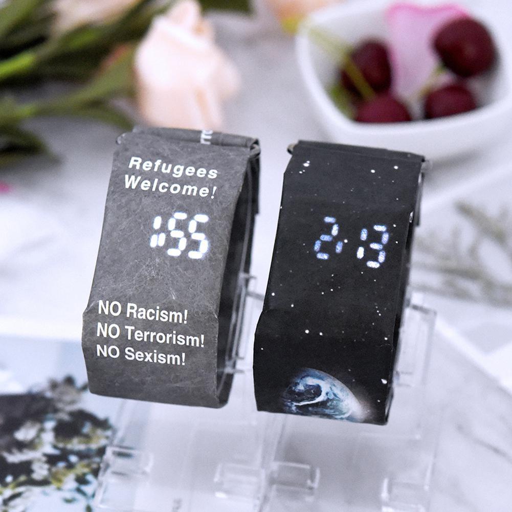 LinTimes Men/Women Lovers Wristwatch LED Waterproof Tyvek Paper Strap Digital Quartz Watch Sport Wristwatch For Couples