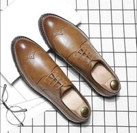 2019 new Men Leather Dress Shoes Luxury Brand Shoes Classic Brogue Mans Footwear Formal Shoes Bullock Shoes Big Size 37 46