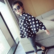 Toddler Baby Kids Polka Dots Stand Neck Shirts Infant Girls Cape Cloak Costume tops wear
