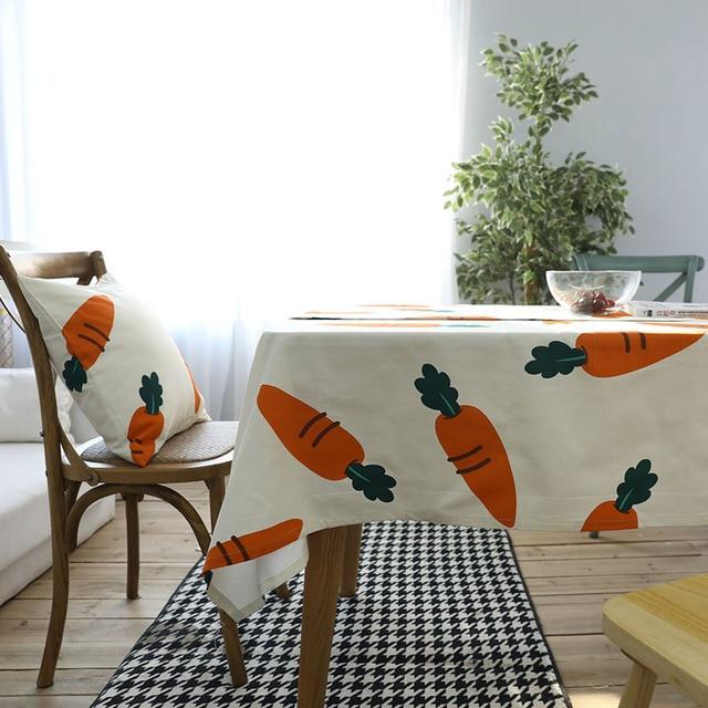 Cotton Table Cloth Carrot Vegetables Creative Tablecloths Mantel Rectangular Toalha De Mesa Bordada Table Cover Table Cloth