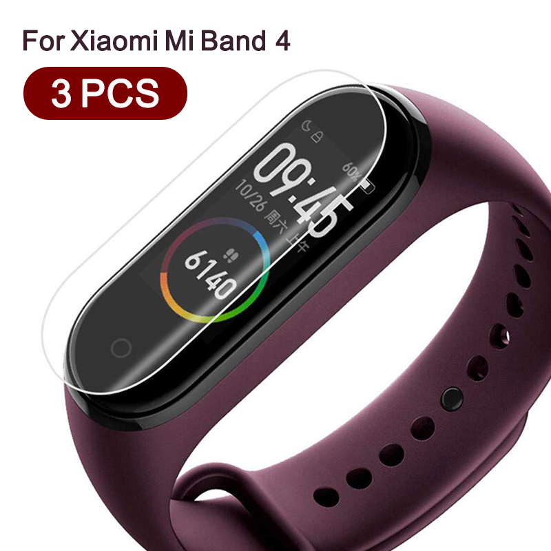3 Pcs For Xiaomi Mi Band 4 Screen Protector Film Full Cover Protective Film On xiomi mi band 4 smart wristband bracelet miband 4 xiaomi mi band 4