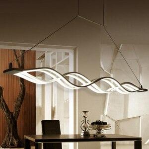 Image 5 - 120CM biały czarny nowoczesne lampy wiszące do jadalni pokój dzienny kuchnia ściemnialna lampa wisząca led lamparas kształt fali