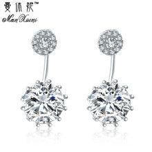 цена на Manxiuni Luxury Stud Long Earrings for Women Wedding Earrings Round Zircon Party Gift Rhodium Plated Wholesale