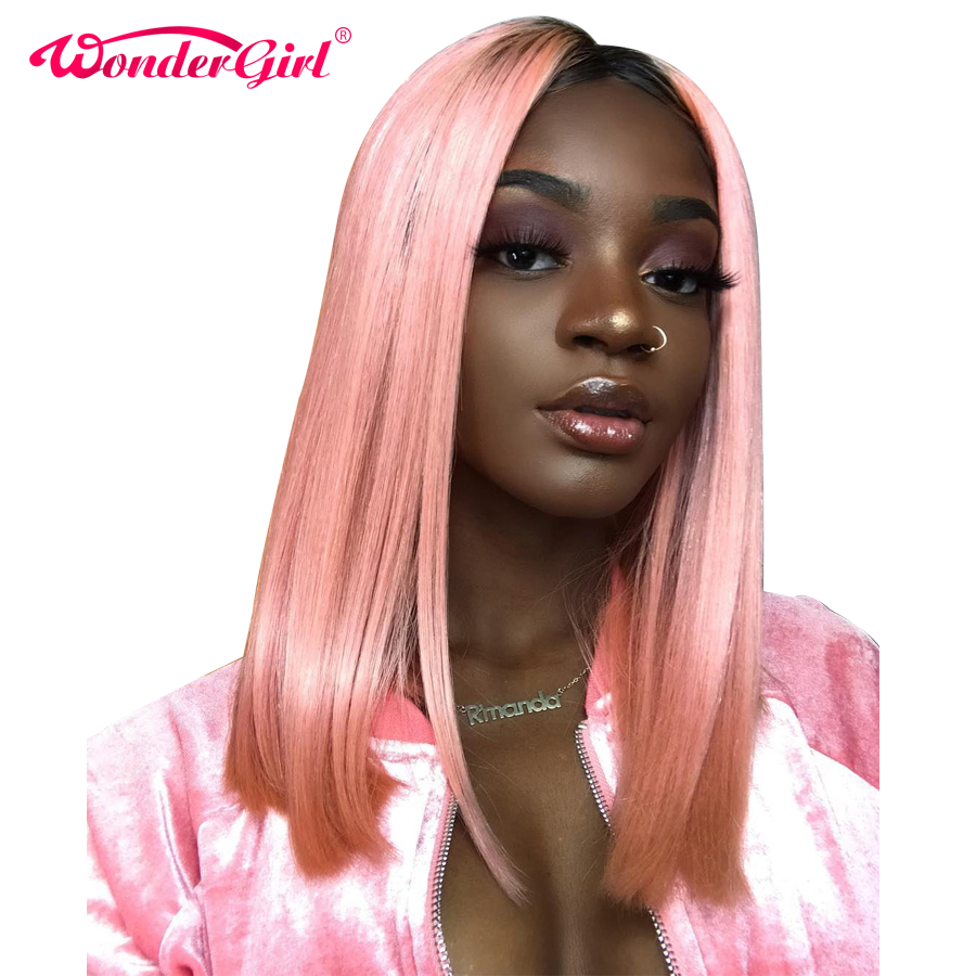 Wonder girl Pink Short Lace Front Human Hair Wigs With Baby Hair Pre Plucked Blonde Lace