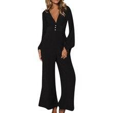 Fashion jumpsuits for women Casual Wide Leg Button Loose Long Sleeve romper Jumpsuit combinaison femme