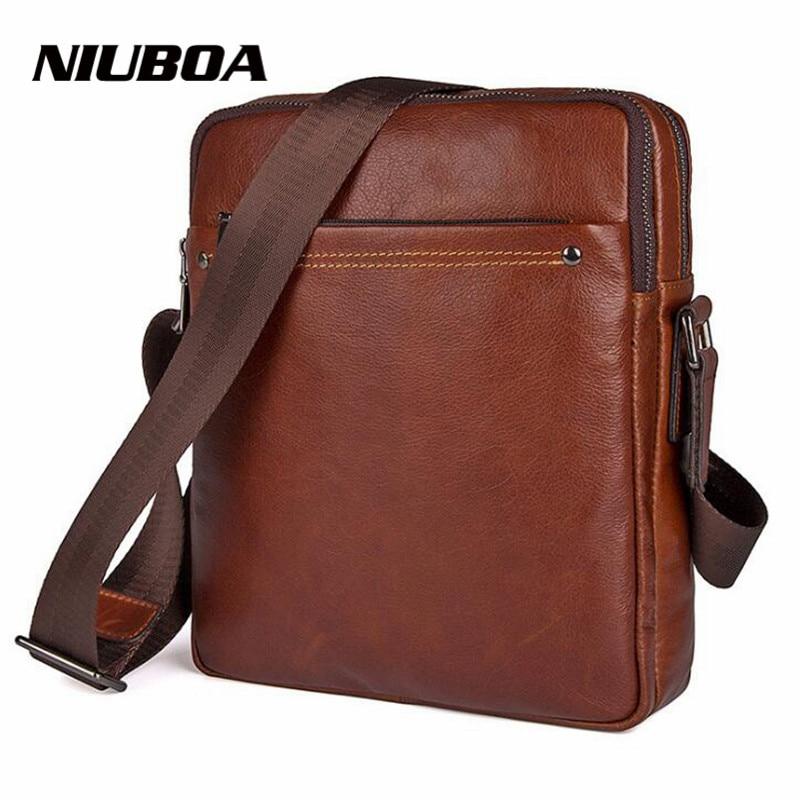 NIUBOA 100 Genuine Leather Messenger Bag Top Quality Casual Small Crossbody Bag Business Men s Handbag
