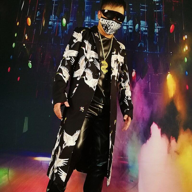 Men Long Casual Trench Coat Streetwear Vintage Fashion Slim Fit Suit Jacket Male Hip Hip Dancer Singer DJ Costume Stage Clothes