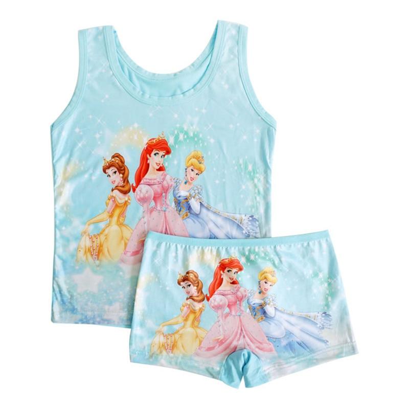 25% 3 set été enfants fille pyjama ensembles décontracté fille bambou fibre gilet + pantalon court 5 couleur aléatoire TZ07