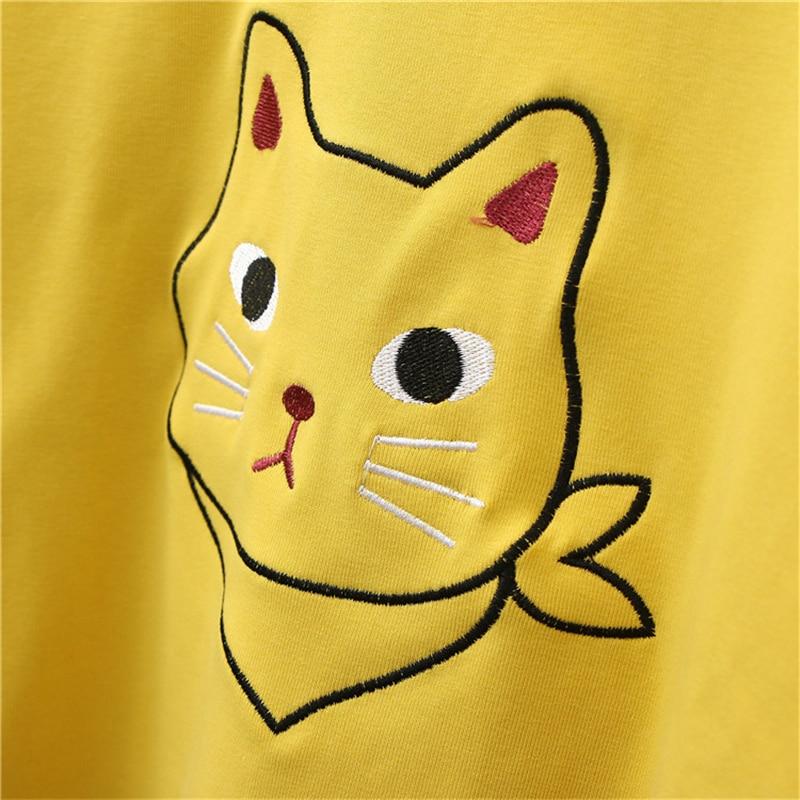 FROHE ZIEMLICH Frauen Tier Katze Stickerei Crop Top 2018 Süße Stil Mädchen Nette Kurzarm T Shirt Baumwolle Sommer Kawai t Shirt