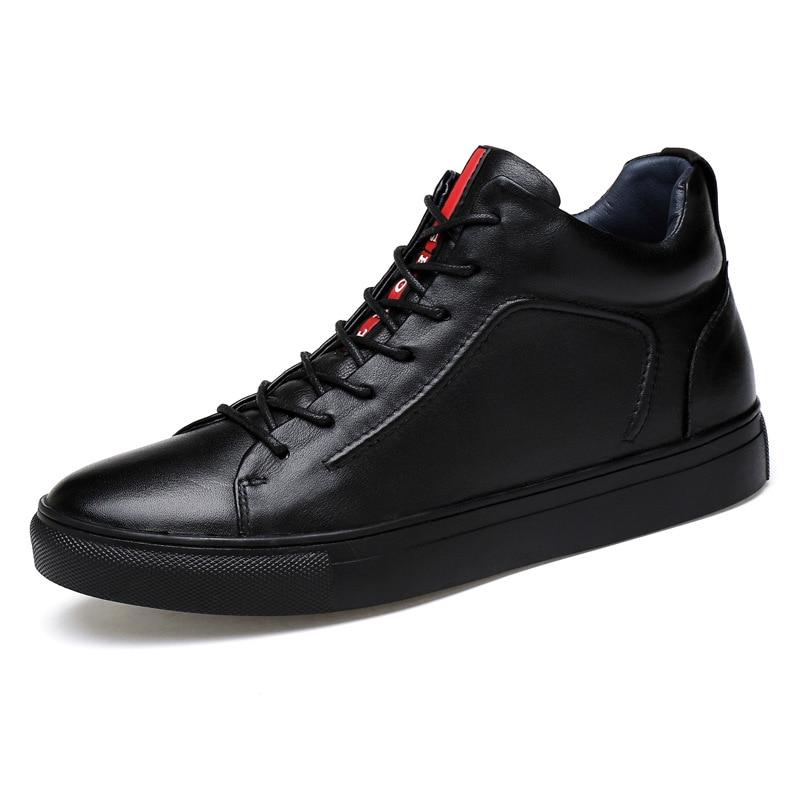 Do De Black Quente Sapatos Flats Couro Alta Top Inverno Dos Homens Masorini 671 Genuínos Fur preto Manter Tornozelo Ww Botas Neve UZqEwI