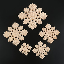 1Pcs Unpainted Wood Carved Decal Corner Onlay Applique Frame for Home Furniture Wall Cabinet Door Decor Crafts 6/8/10/12/15cm