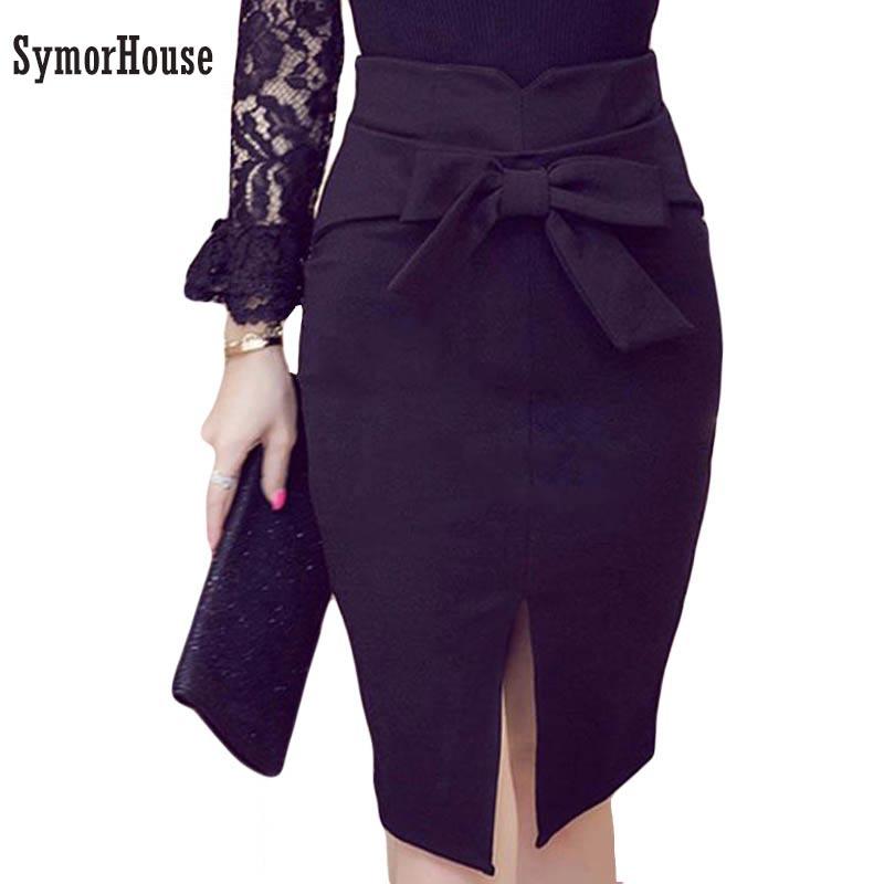 Women Pencil Skirt Plus Size 2018 Spring New Fashion Knee- Length High Waist Casual  Bow Skirt Elegant Open Slit Office Skirt