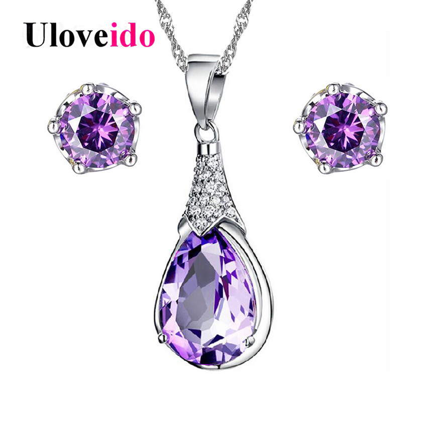 Uloveido Purple Jewelry Sets Crystal Necklace and Earrings Set Bridal Jewelry Set Silver Color Wedding Decorations 5% Off WHT37