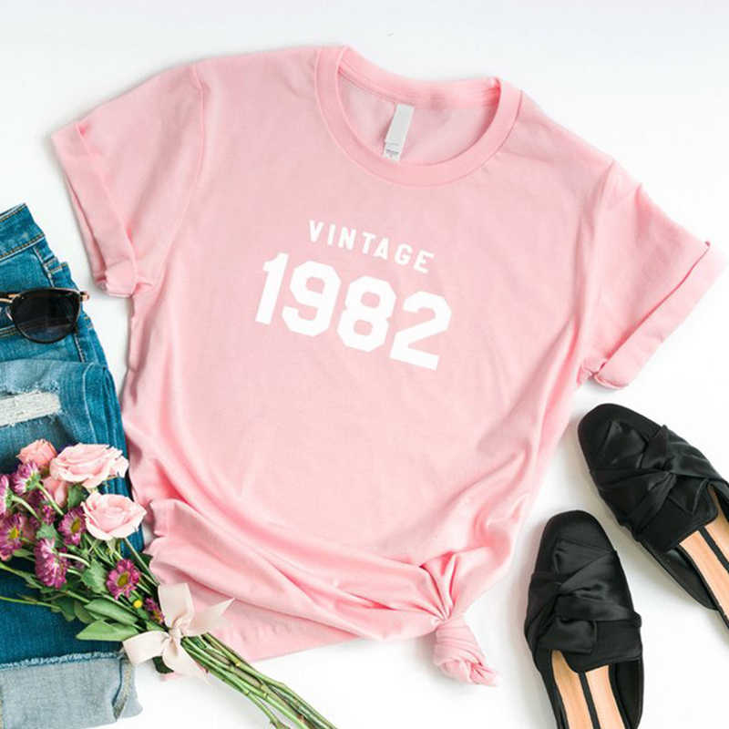 Vintage 1982 T Shirt Women 80s Fashion Grunge Womens Shirts 37th Birthday Party Graphic Tee Shirt Cotton Oversized Top Tees