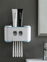 Houmaid Bathroom Accessories Toothbrush Storage Holder Suction Wall mounted Cups Rack Sets Creative Plastic Toothpaste Dispenser