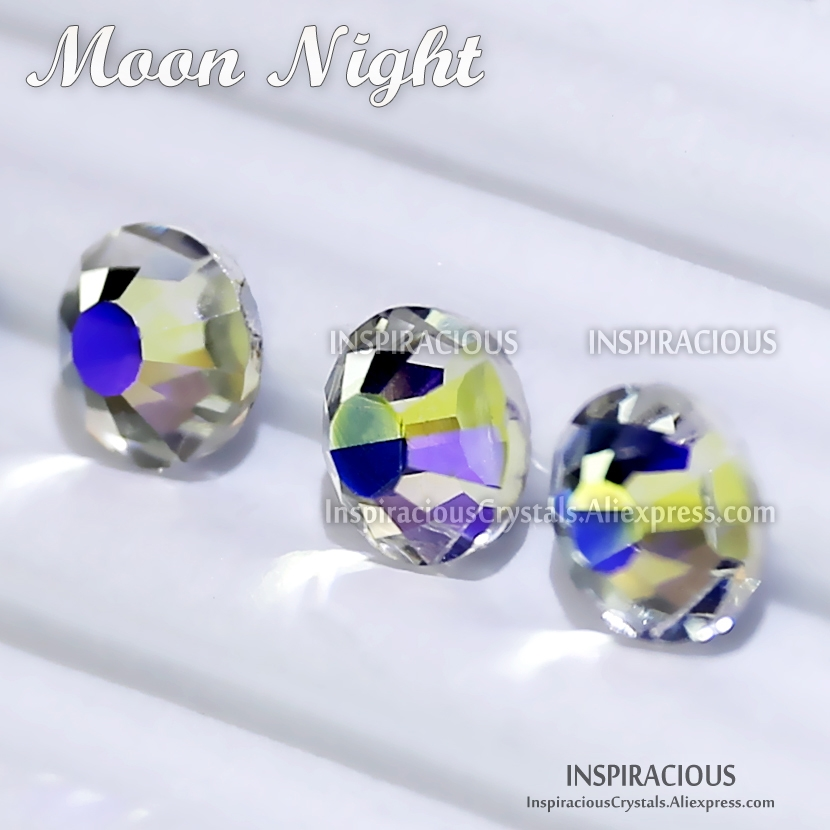 Moon Night SS3-SS30 all sizes 2018 new color Nail Decoration Rhinestone glass non hotfix crystal glitters for DIY decor manicure mixed size ss3 ss30 gold rose 1000pcs nail rhinestones flat back non hotfix glitter nail stones diy 3d nail phones decorations