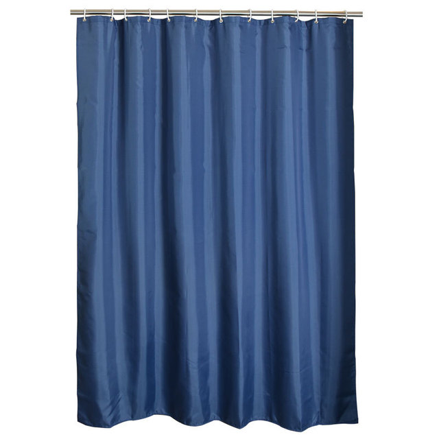 Navy Blue Shower Curtain Fabric Polyester Bathroom Waterproof Moldproof Curtains 180x180cm 1PC