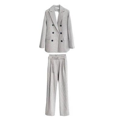 Otoño Dos 1 Cuadros Traje Sueltos De Pantalones Mujer Pecho Moda Para Nuevo Nueve Informal A Piezas Doble 5I5waSq6
