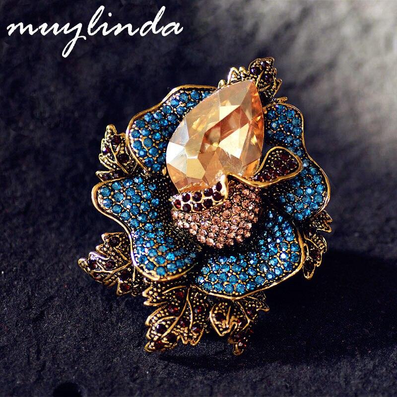 Broche en cristal Vintage muylinda broches bijoux fantaisie broches strass fleur Broche femmes écharpe Clip Broche