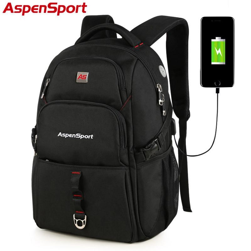 AspenSport 2017 New USB Charge Bag College Backpack Backpack Fashion School Bag for Men male fit