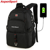 AspenSport 2017 New USB Chargeable Bag College Backpack Backpack Fashion School Bag For Men Women Fit