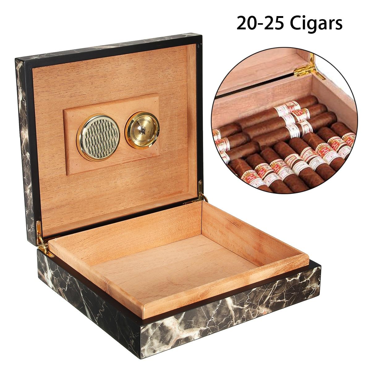 YKPuii Portable Cedar Wood Cigar Case Wooden Cigar Storage Box with Humidor Humidifier Moisturizing Device Cigar Accessories