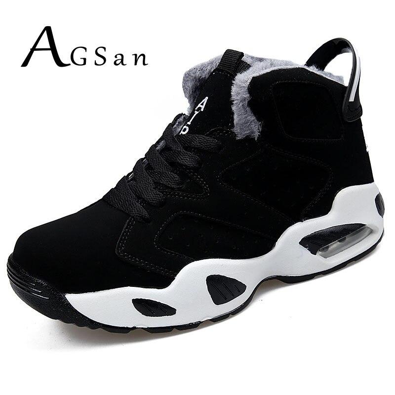 AGSan hombres botas de los hombres invierno botas de nieve de peluche de alta botas zapatillas de deporte zapatos de trabajo zapatos los hombres botas de encaje