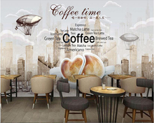 beibehang Custom advanced large-scale interior decorative painting 3d wallpaper hand-drawn retro coffee background papier peint