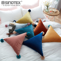 Triangle Pillow 50cm Simple Ball Tassel Sofa Bed Car Cushion Soft Candy Color Pillow Seat Throw
