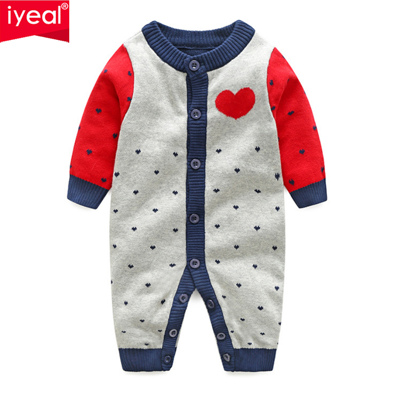 IYEAL Newborn Baby Boy Clothing Long Sleeve Cotton Embroidery Letter I Love Mom Dad Patchwork Pattern Knitted Infant Girl Romper