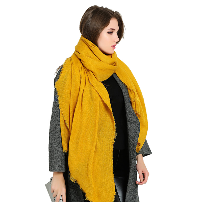 200cm*100cm Solid Soft Scarves For Women Faux Cashmere Scarf Oversized Shawl Winter Gift Scarf Luxury Brand Yellow Scarf Stole