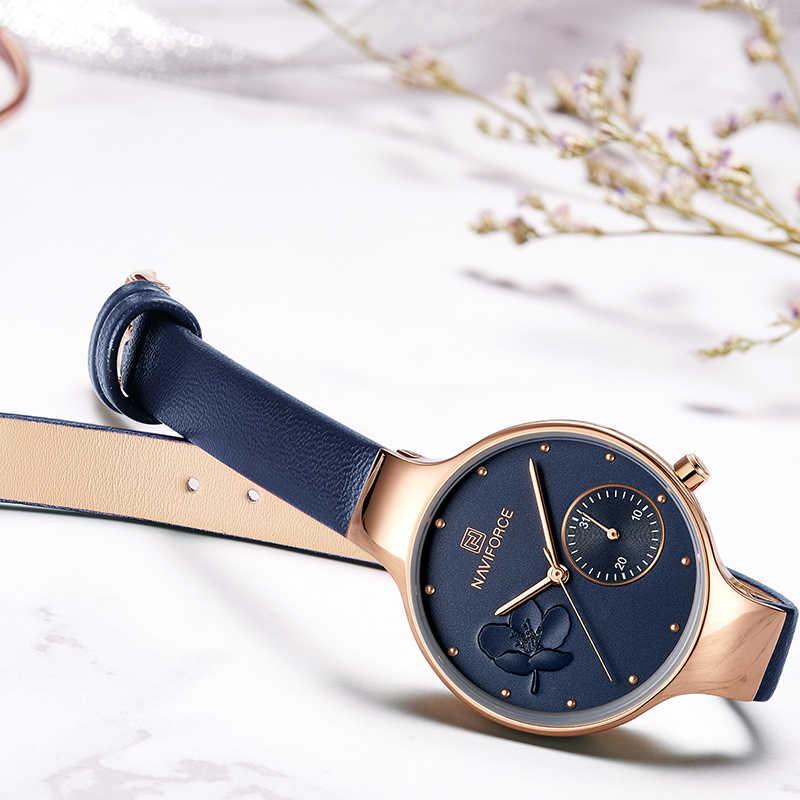 NAVIFORCE kobiety modne niebieskie kwarcowy zegarek pani skóra Watchband wysokiej jakości dorywczo zegarek wodoodporny prezent dla żony 2019