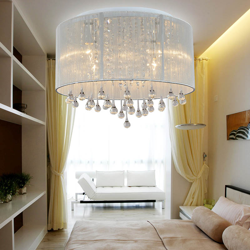 Modern minimalist pastoral fabric crystal ceiling lamp fashion romantic living room bedroom dining room crystal brushed chandeli