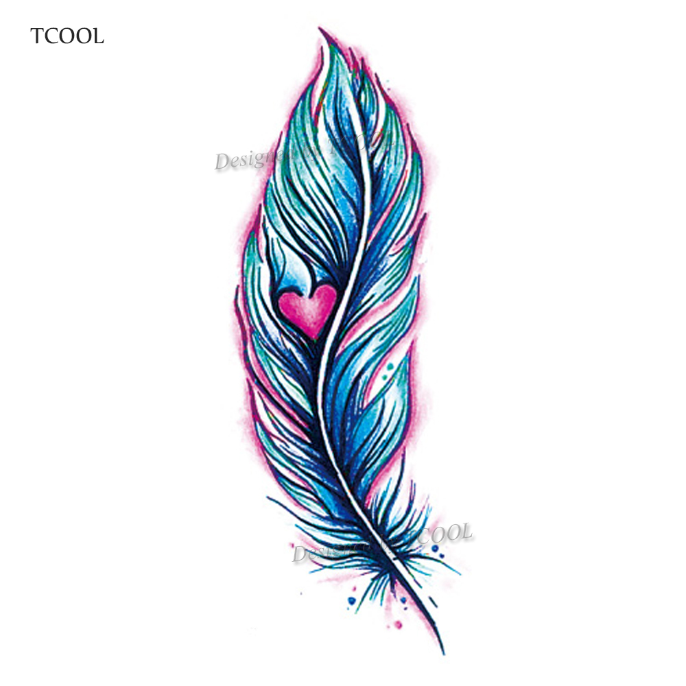HXMAN Feather Waterproof Temporary Tattoos Sticker Women Men Face Fake Body Art 10.5X6cm Kids Adult Hand Tattoo Paper B-067