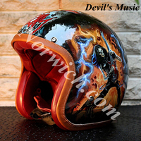 (SKULL guitar on fire)DIY stylish universal good quality motorcycle protective personalized Half Helmets (Devils Music)