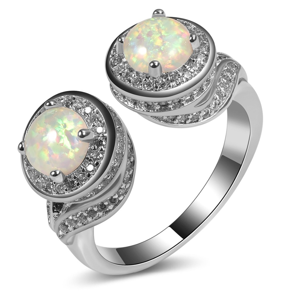 White Opal White Crystal U Type Ring 925 Sterling Silver