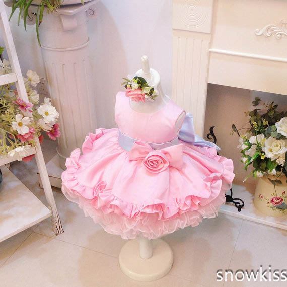 Light baby Pink flower Girl Dresses For Party Wedding Tiered Baby frocks With Bow Toddler princess Birthday cupcake Dress