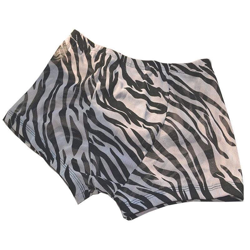 Sexy Mid-waist Male Panties Zebra Stripes Transparent Gauze Mesh Trunk Breathable Boxer Underwear T115