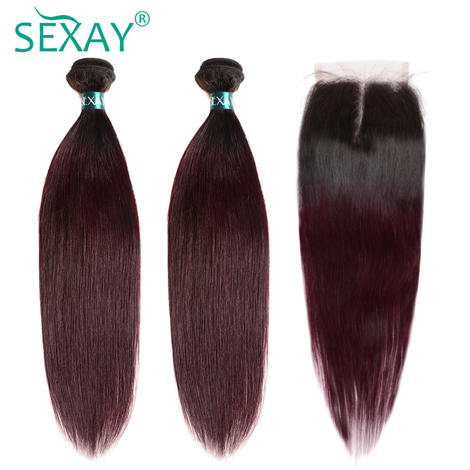 T1B/99J Burgundy Brazilian Straight Hair 3 Bundles With Closure SEXAY Dark Roots Ombre Human Hair Bundles With Closure Non Remy