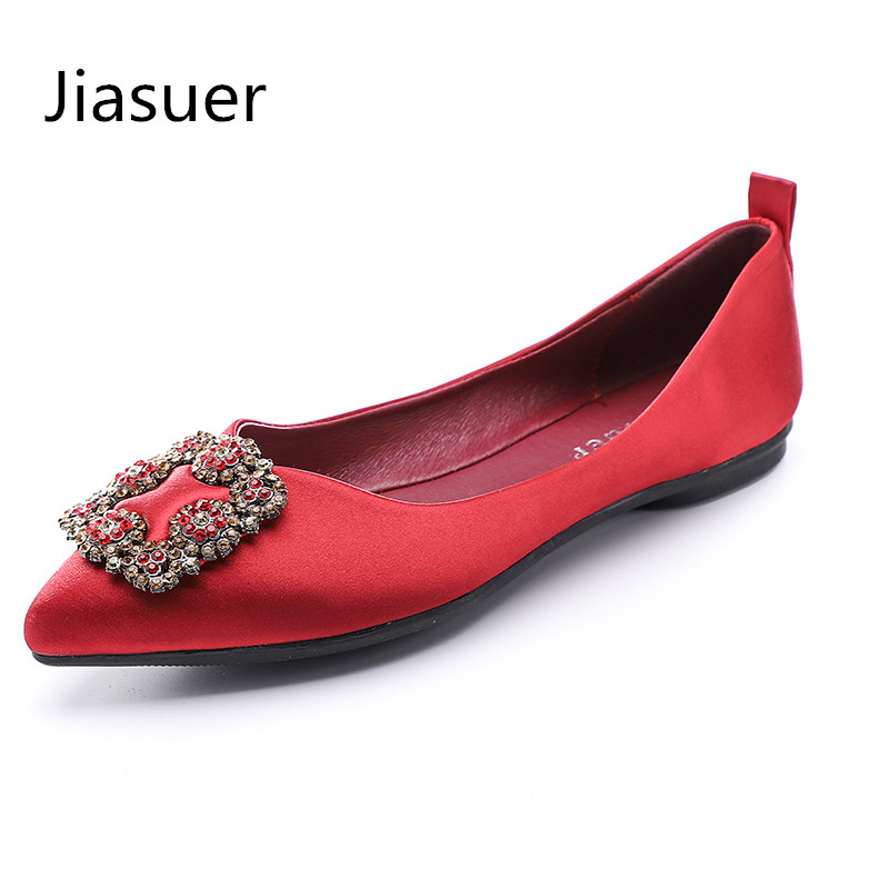 Jiasuer Women Patent Leather Ballet Flat Shoe Slip on Square Rhinestone Buckle Pointed Toe Driving Wedding Shoes Plus Size 35-41 fanyuan casual women ladies flat candy 6 color patent leather flat shoes women pointed toe flat free shipping plus size 30 49