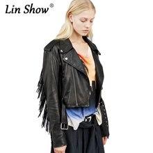 LINSHOW Motocicletas Couro Do Falso Borla Jaquetas Bomber Mulheres Punk Rock PU Coats Pockets Botão Zipper Outwear Novas Senhoras Jaquetas
